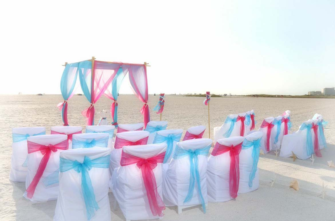 Florida beach weddings in hot pink and cool bluesuncoast for Wedding pink and blue