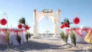 beach wedding with a chandelier
