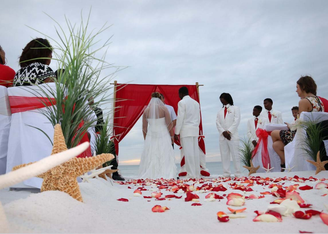 Florida Beach Wedding Themes Romantic Red Suncoast