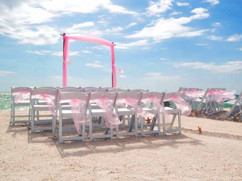 pink beach wedding theme