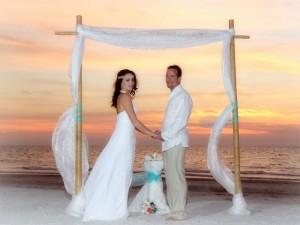 Florida beach wedding at sunset