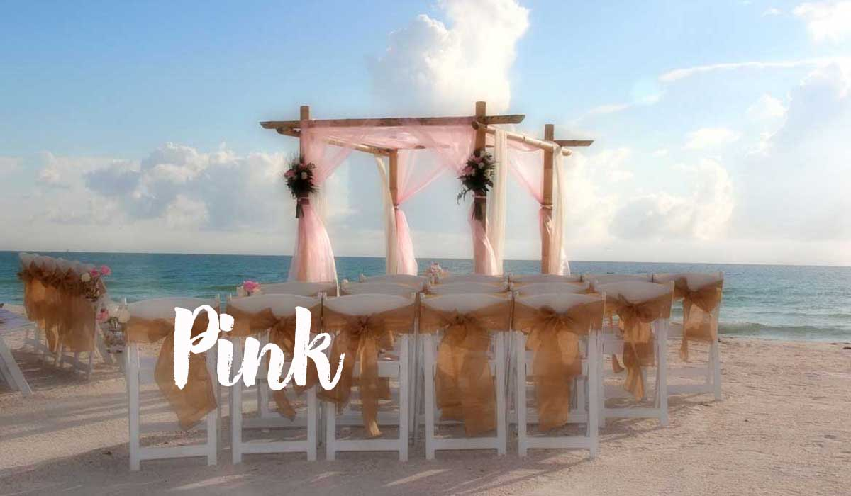 pink beach wedding theme with burlap