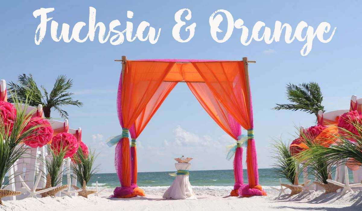 Orange and fuchsia beach wedding theme