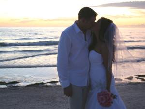 Florida beach wedding kiss