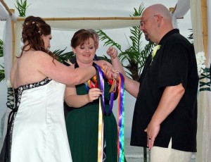 Handfasting with ribbons from guests