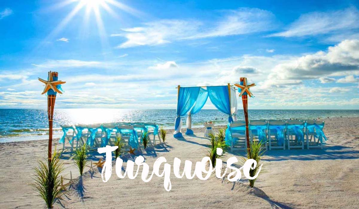 Turquoise beach wedding theme
