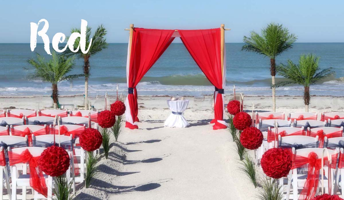 Red beach wedding theme