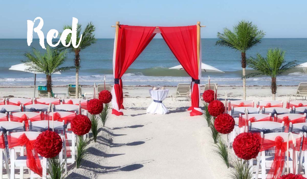 Florida beach wedding themes - red