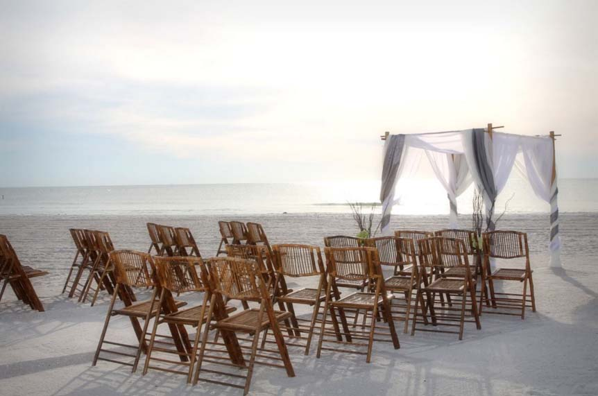 Bamboo chairs for a beach wedding