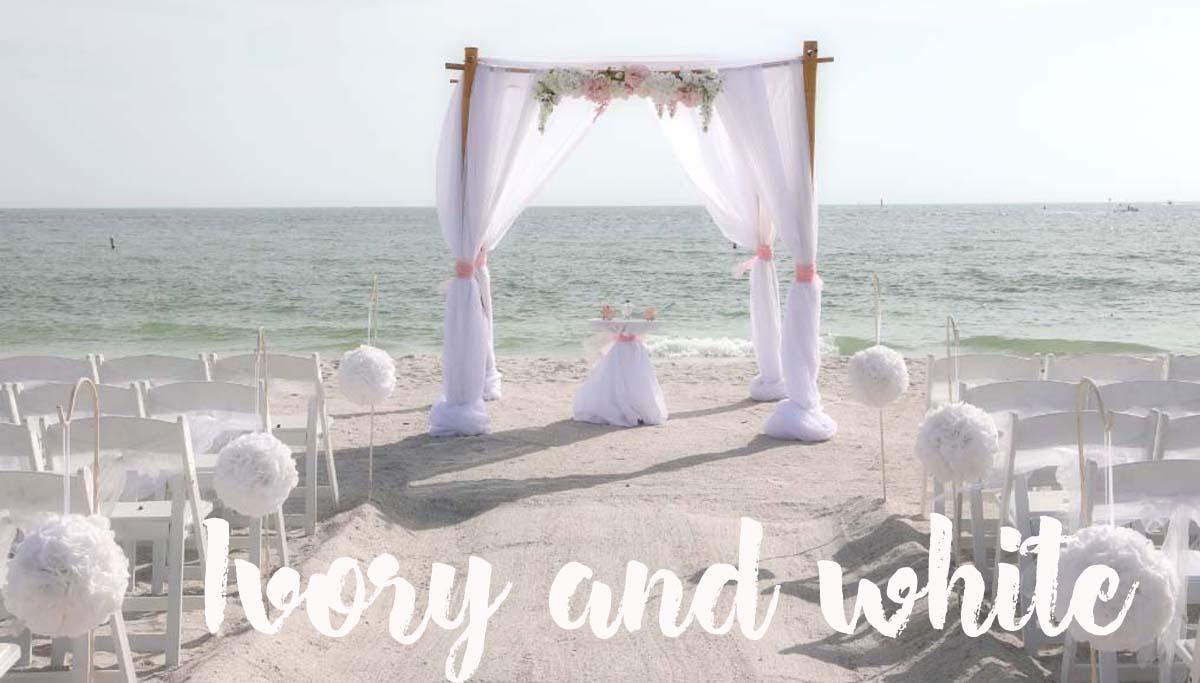 Ivory and white beach wedding theme