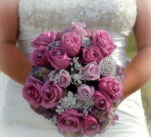 plum bouquet with jewels