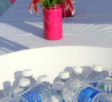sun and sand reception water bottles for guests