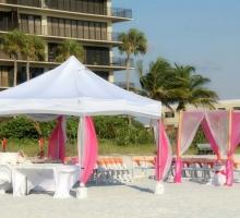 sun and sand reception on Sunset Beach, Treasure Island