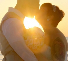 Florida beach wedding on a Gulf beach at sunset